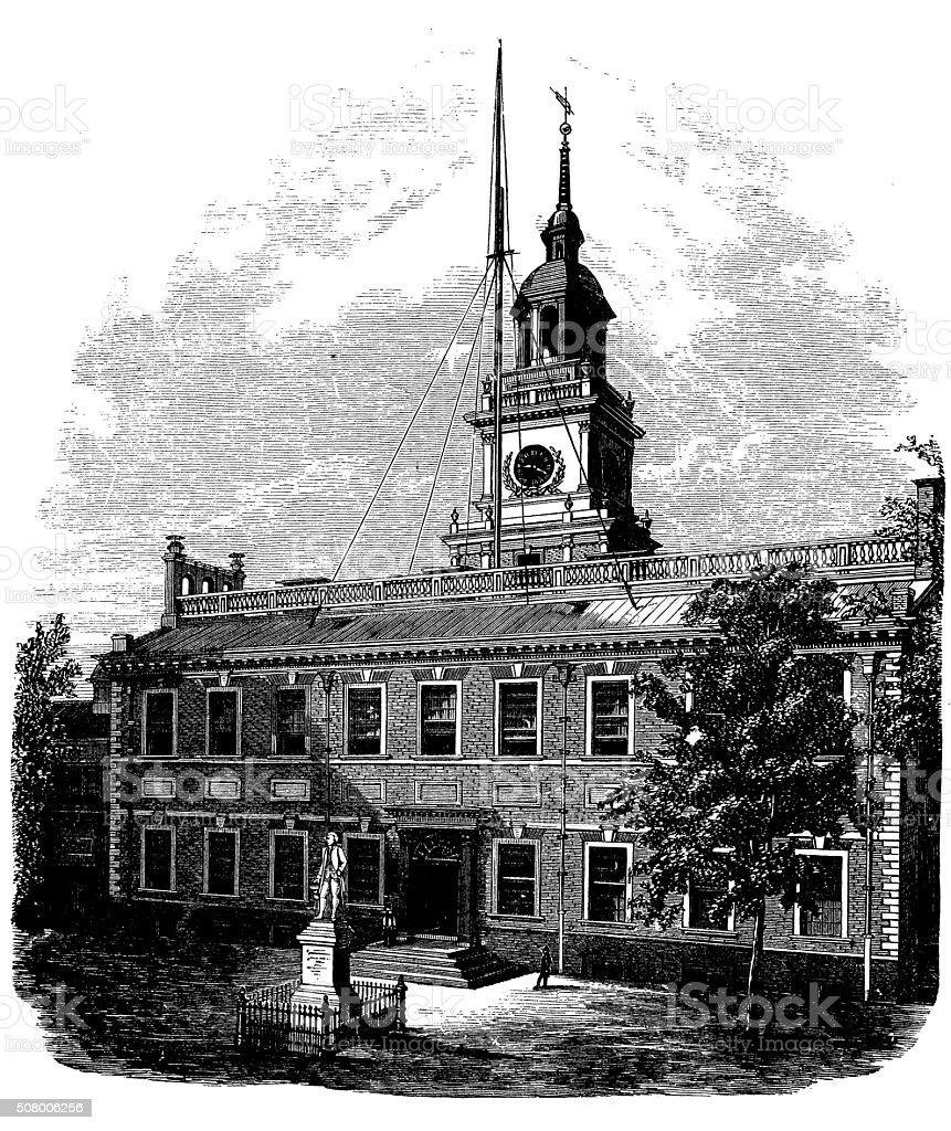 Antique illustration of independence hall vector art illustration