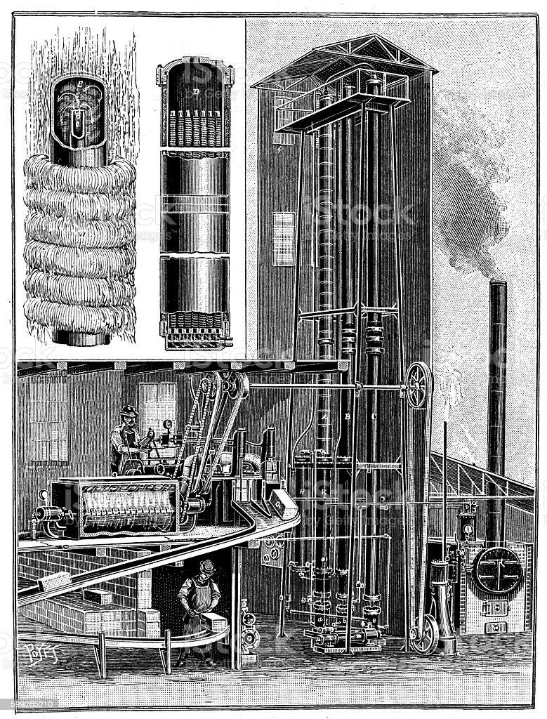 Antique illustration of industrial ice production vector art illustration