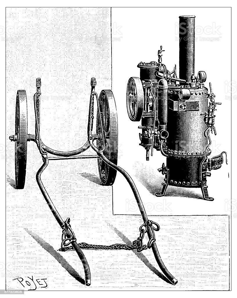 Antique illustration of insecticide machine vector art illustration