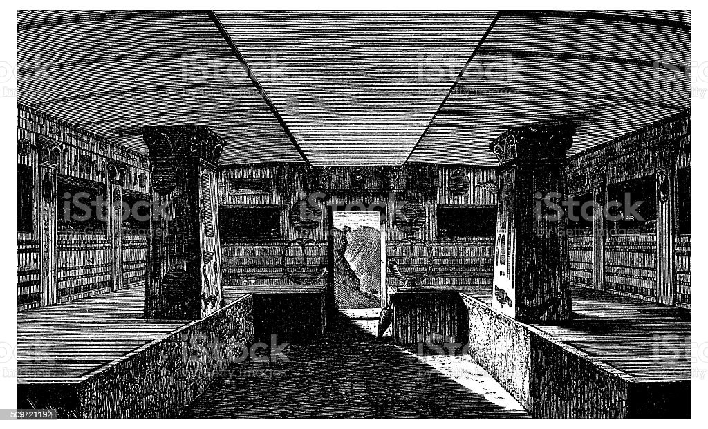 Antique illustration of interior of Etruscan monumental tomb vector art illustration