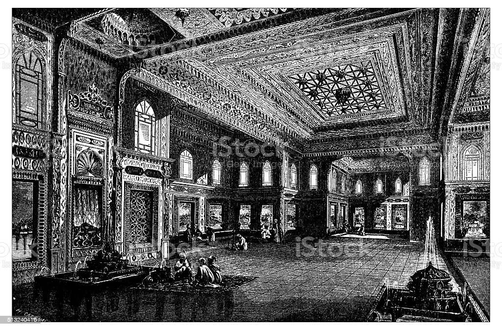 Antique illustration of interior of kiosk, Topkapı Palace (Istanbul, Turkey) vector art illustration