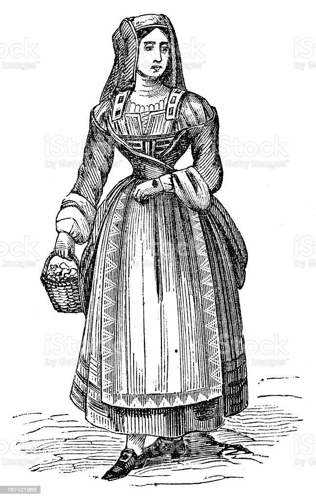 Antique illustration of Italian people from Abruzzo region vector art illustration