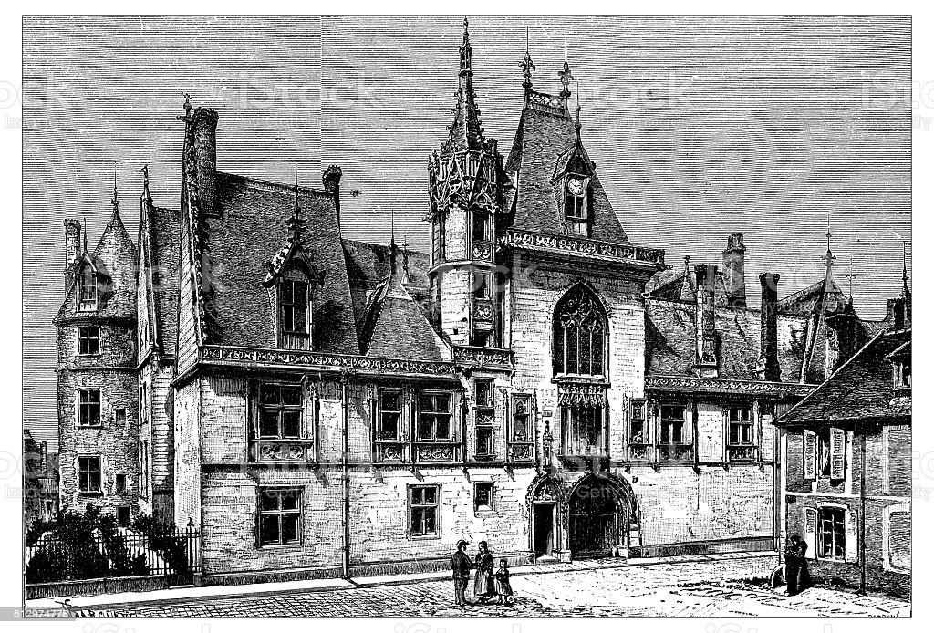 Antique illustration of Jacques Cœur's palace (Bourges, France). vector art illustration