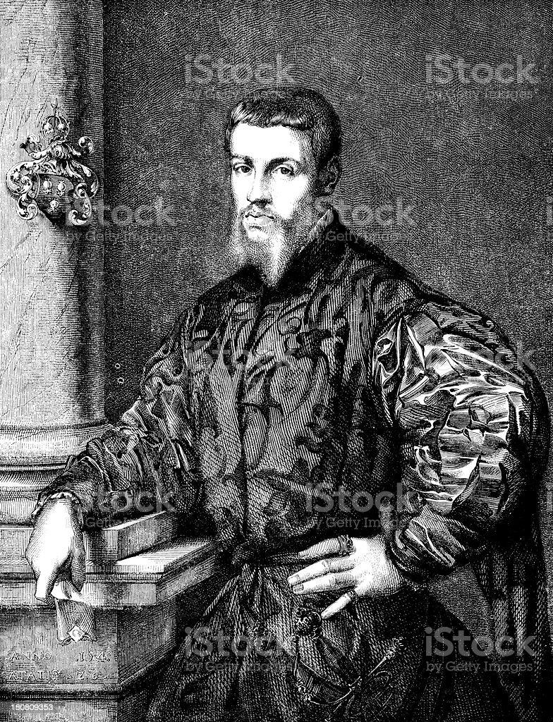 Antique illustration of Jean de Calcar royalty-free stock vector art