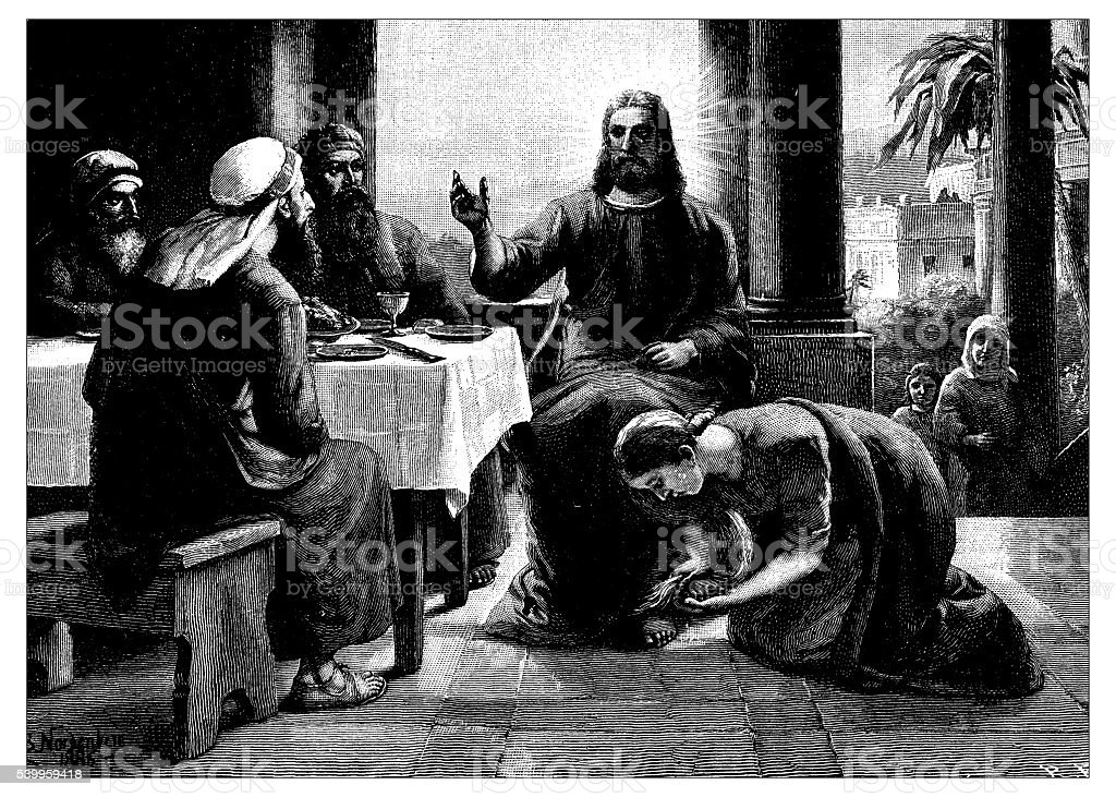 Antique illustration of Jesus and Mary Magdalene vector art illustration