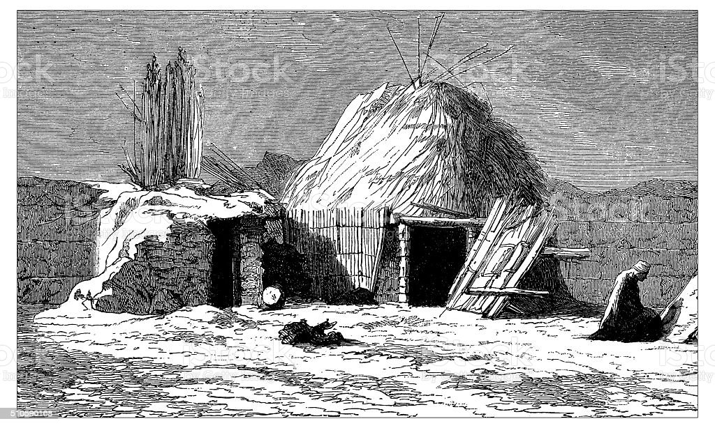 Antique illustration of Kyrgyz house on the road to Tashkent vector art illustration