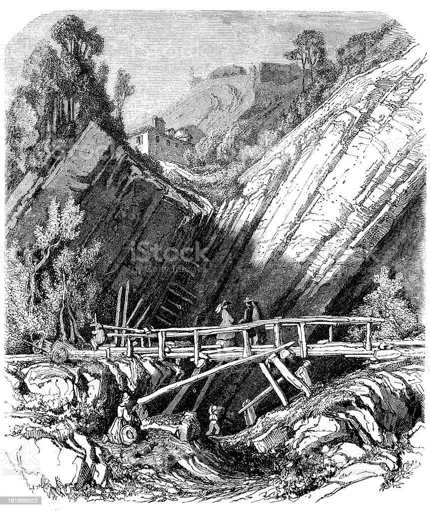 Antique illustration of landscape with bridge in Grenoble vector art illustration