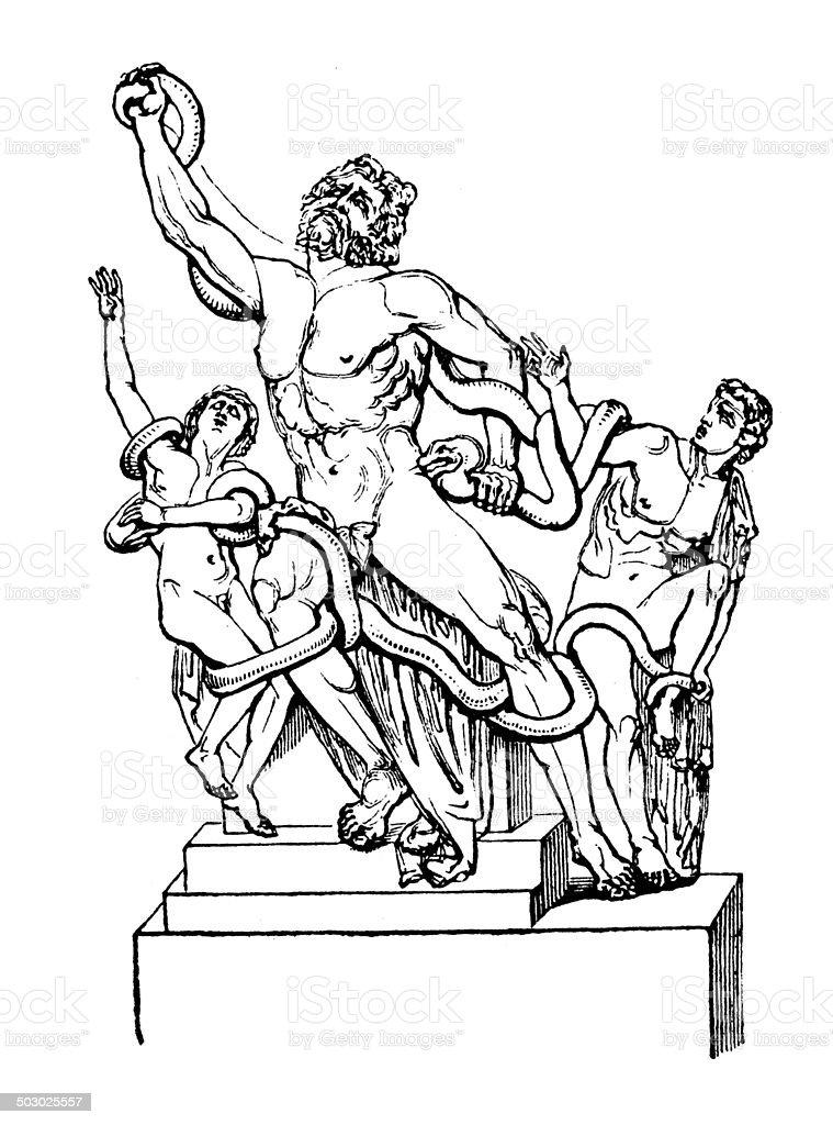 Antique illustration of Laoco?n statue vector art illustration