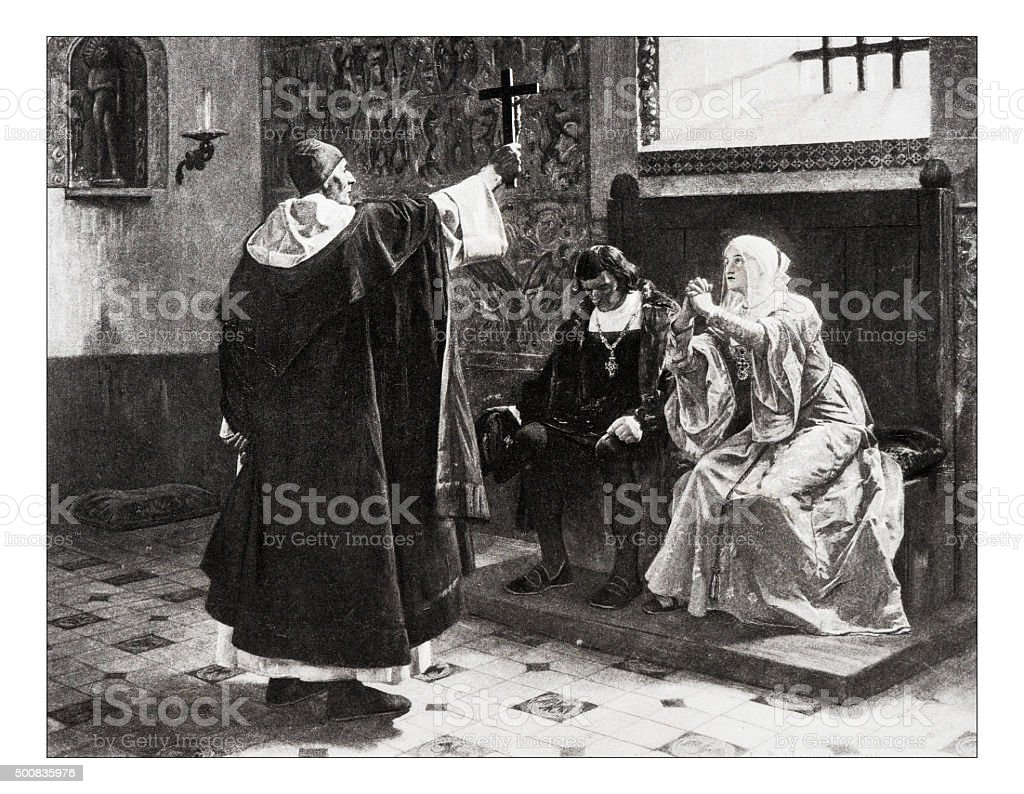 Antique illustration of 'Le grand inquisiteur et les rois catholiques' vector art illustration