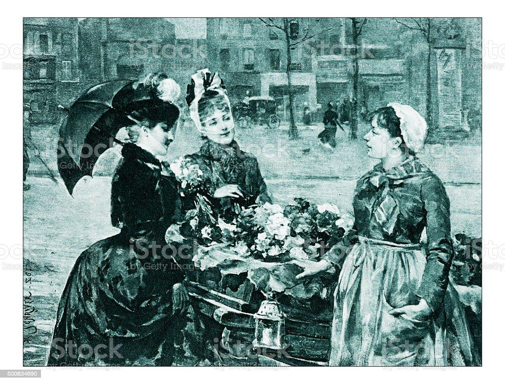 Antique illustration of 'Le premier jour de primtemps' by Schryver vector art illustration