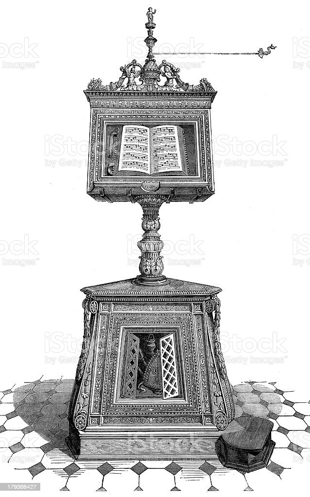 Antique illustration of lectern royalty-free stock vector art