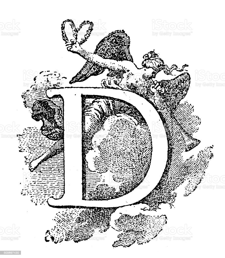 Antique illustration of letter D with angel playing a trumpet vector art illustration