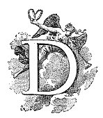 Antique illustration of letter D with angel playing a trumpet