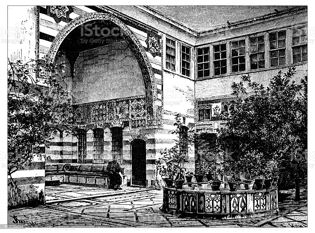 Antique illustration of Liwan of a house in Damascus (Syria) vector art illustration