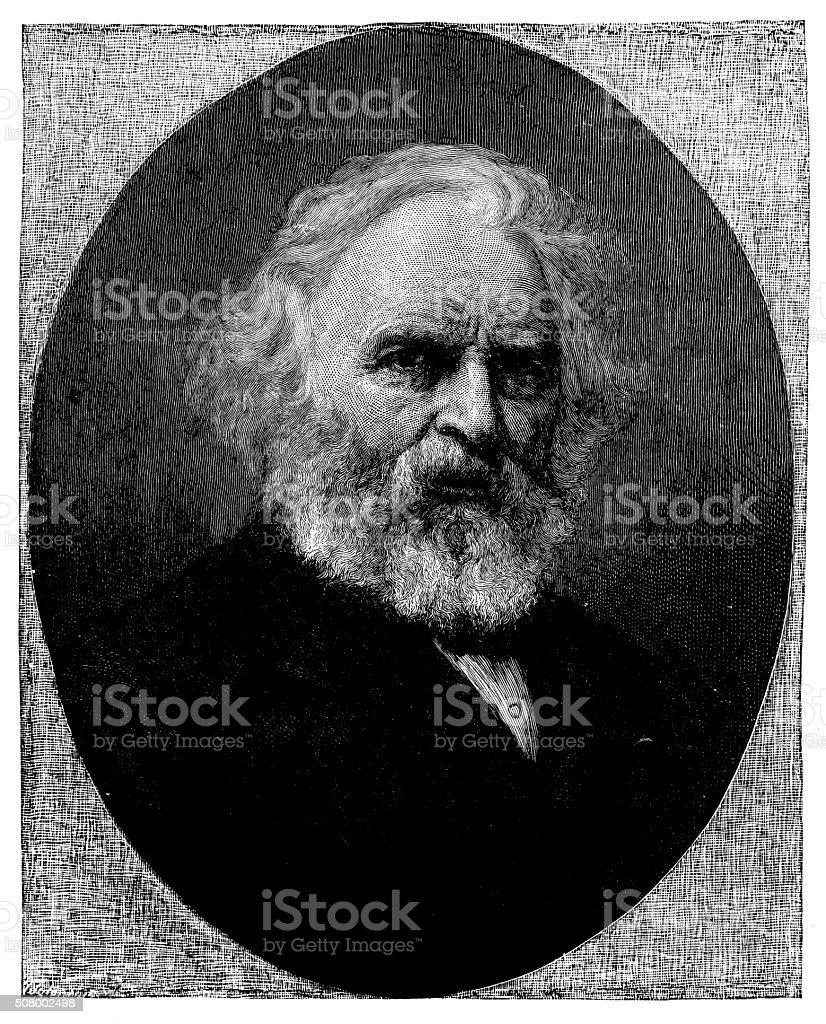 Antique illustration of Longfellow vector art illustration