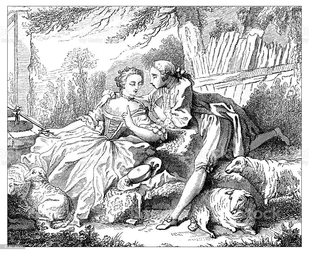 Antique illustration of lovers vector art illustration