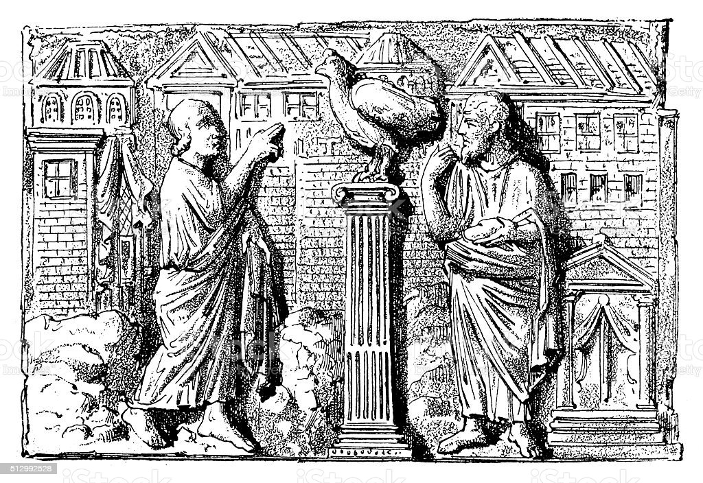Antique illustration of low relief of a sarcophagus (2nd-3rd century) vector art illustration