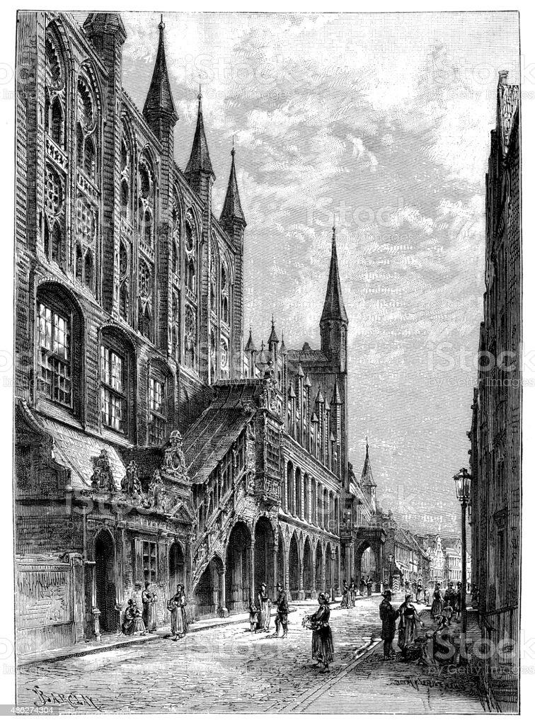 Antique illustration of Lubeck town hall vector art illustration