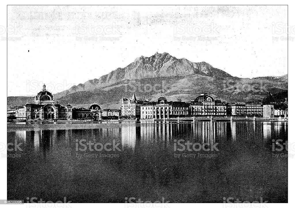 Antique illustration of Lucerne Station vector art illustration