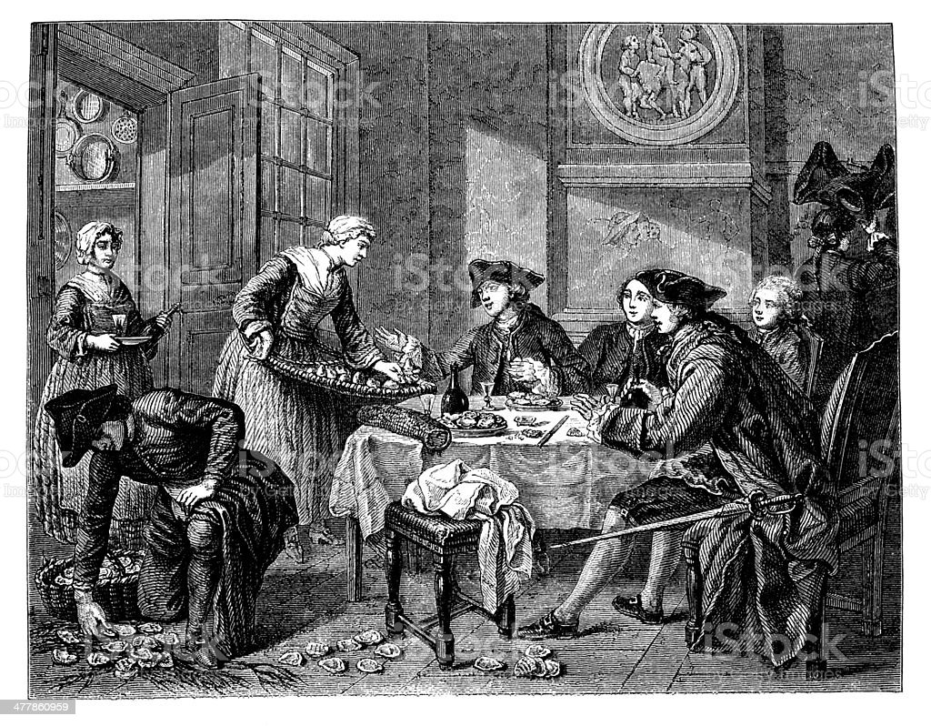 Antique illustration of lunch indoor royalty-free stock vector art