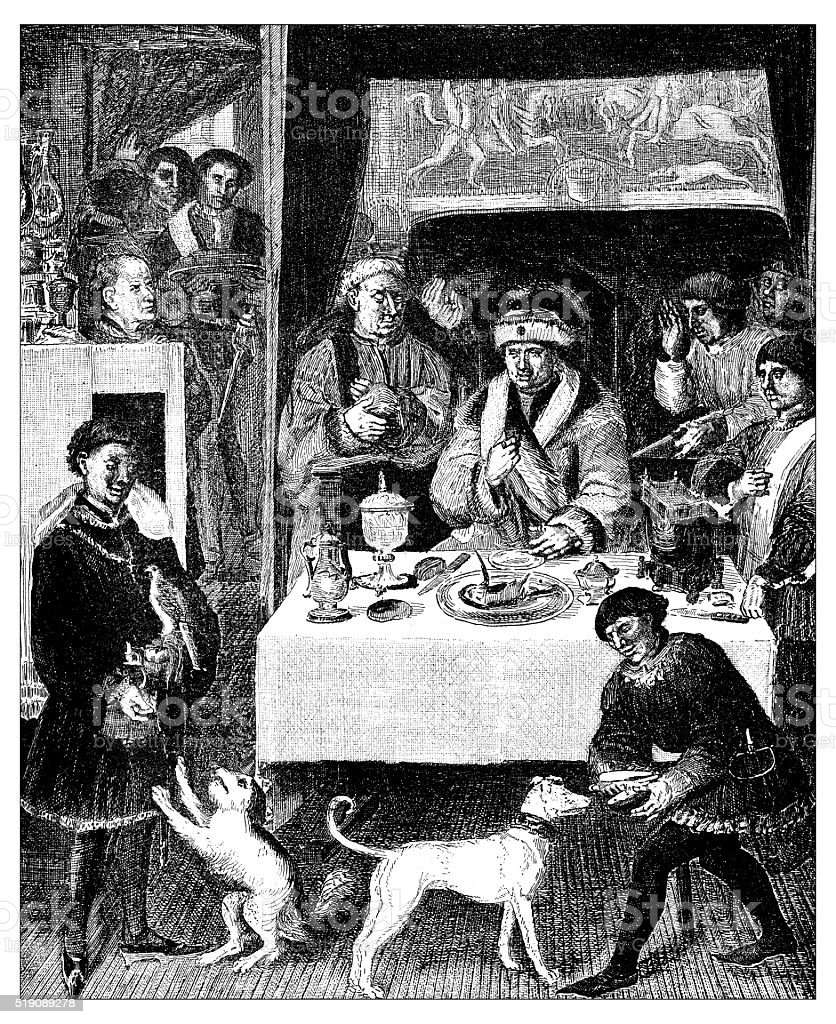 Antique illustration of lunch of a 16th century Flemish gentleman vector art illustration