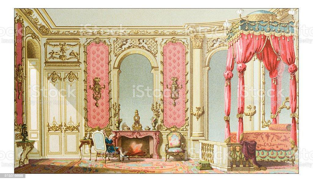 Antique illustration of luxury bedroom vector art illustration