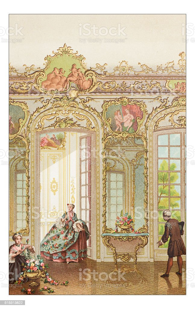 Antique illustration of luxury home vector art illustration