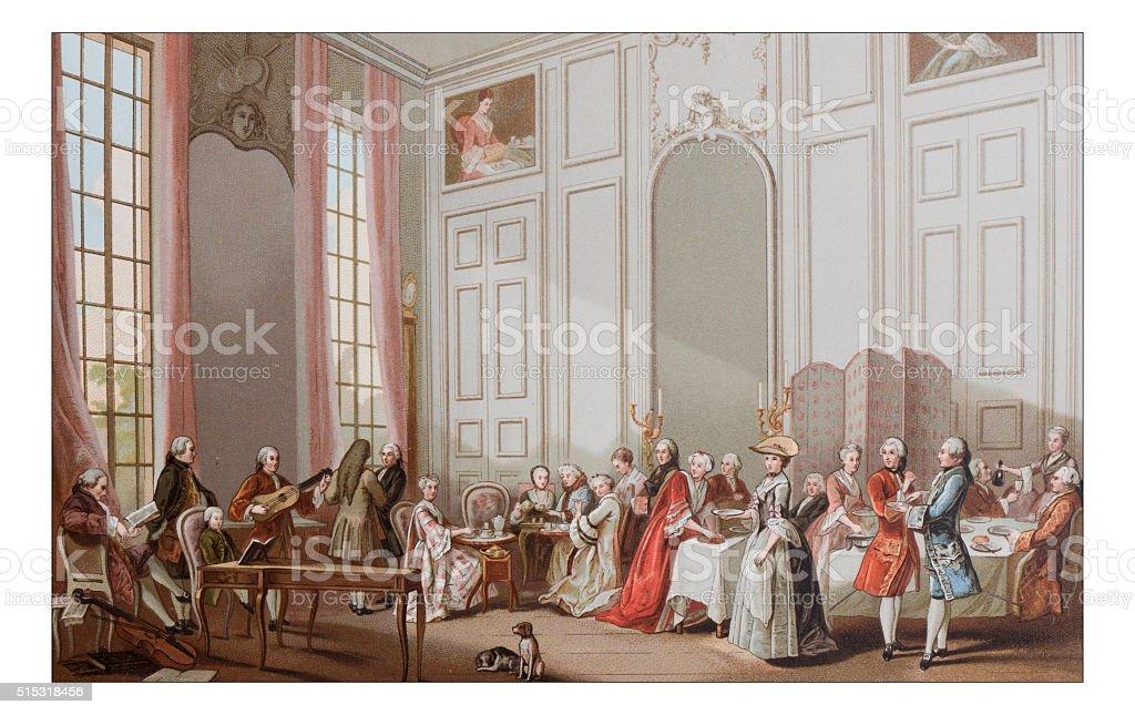 Antique illustration of luxury tea party vector art illustration