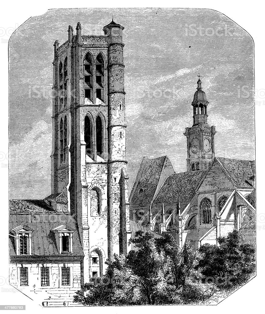 Antique illustration of Lycee Napoleon (Abbaye de Sainte Genevieve) tower royalty-free stock vector art