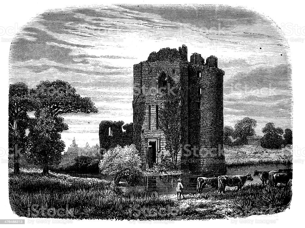 Antique illustration of Machecoul castle ruins royalty-free stock vector art