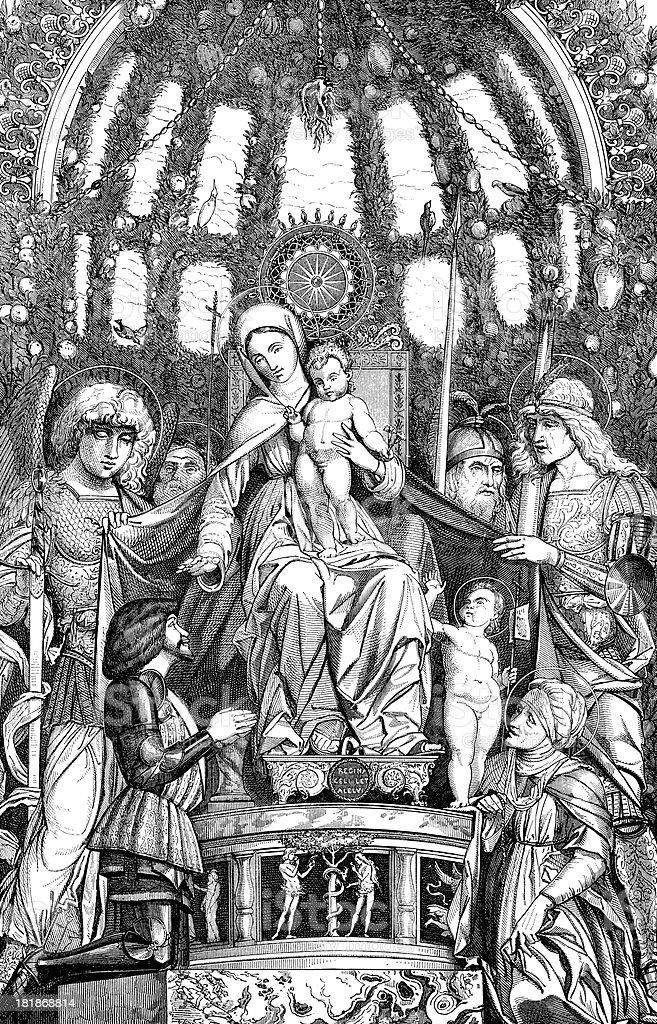 Antique illustration of Madonna della Vittoria by Andrea Mantegna royalty-free stock vector art