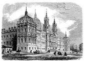 Antique illustration of Mafra palace, Portugal