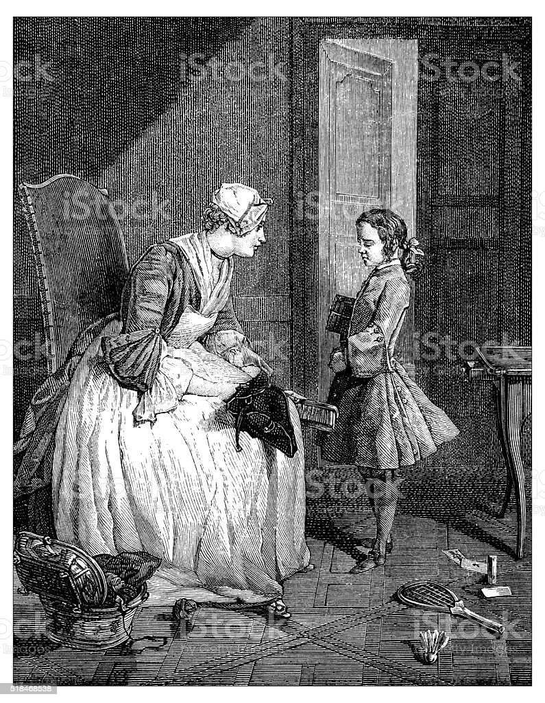 Antique illustration of maid and boy vector art illustration