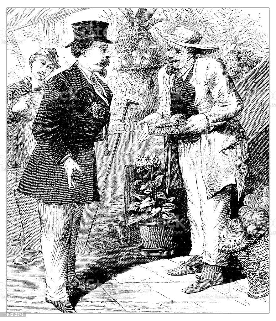 Antique illustration of man buying fruit vector art illustration