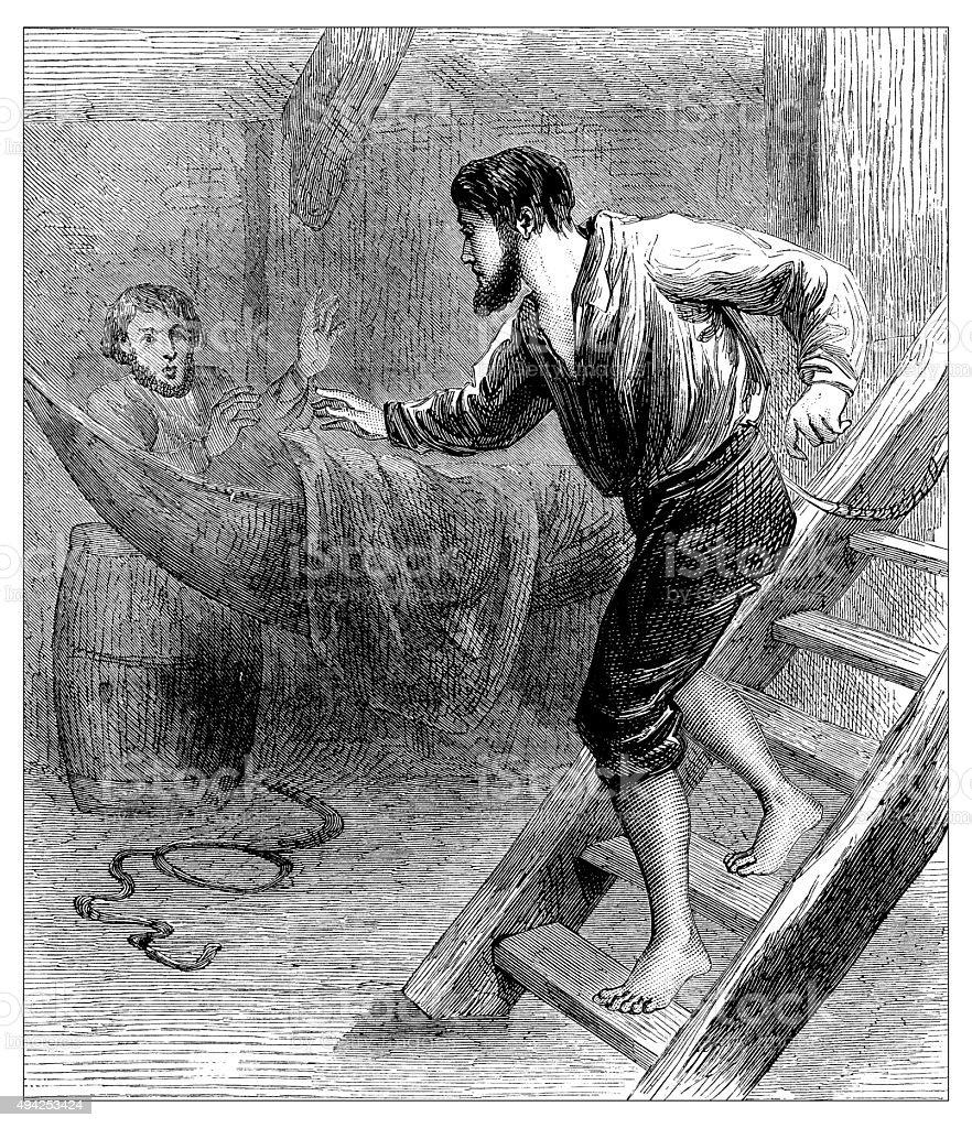 Antique illustration of man inside ship vector art illustration