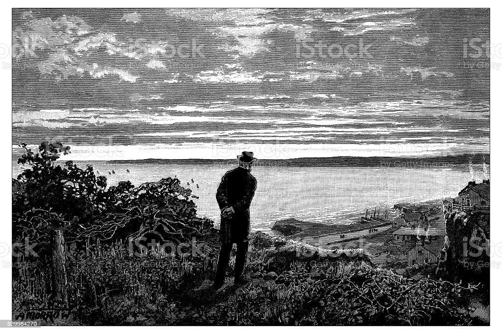 Antique illustration of man looking at horizon at sea vector art illustration