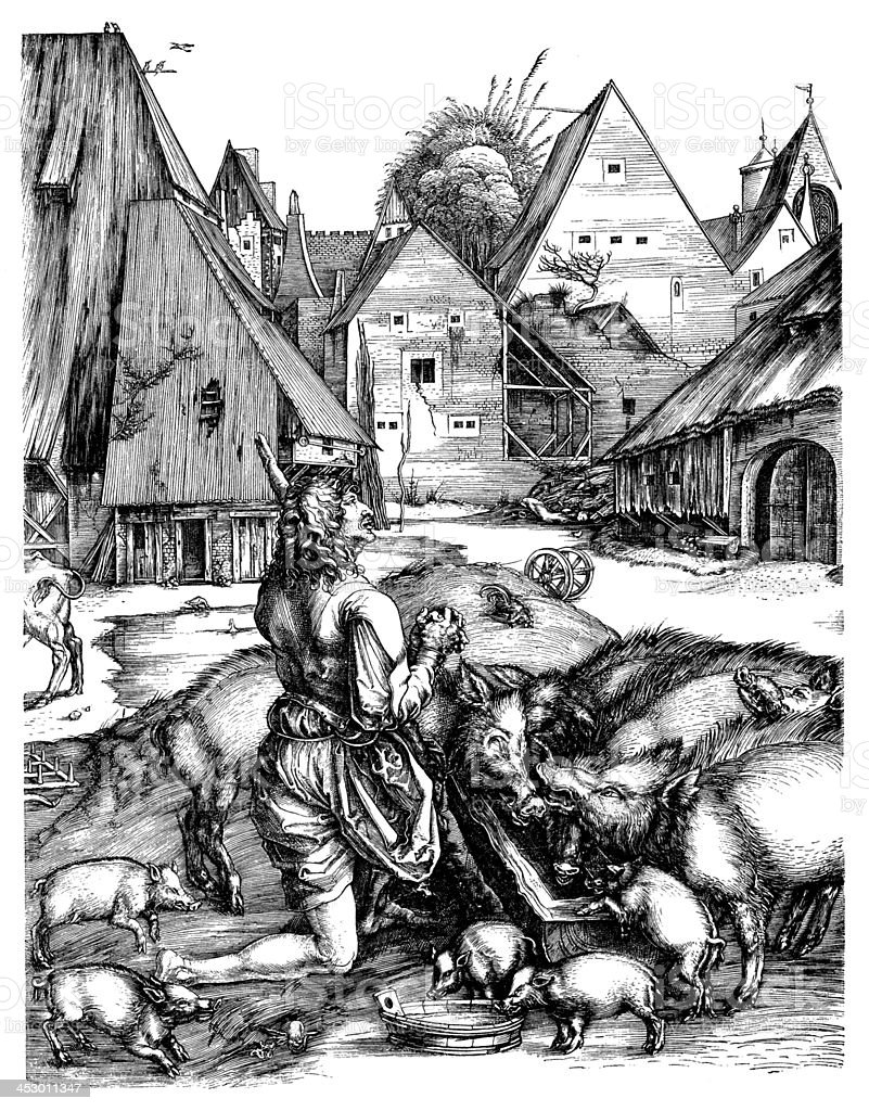 Antique illustration of man with pigs vector art illustration