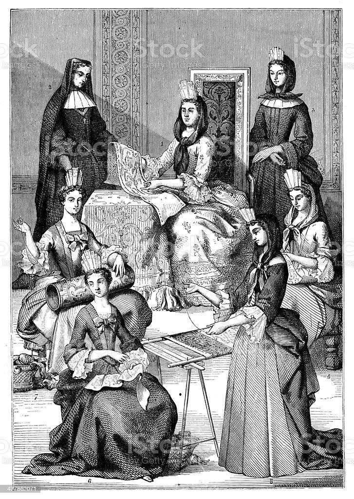 Antique illustration of many beautiful elegant women royalty-free stock vector art