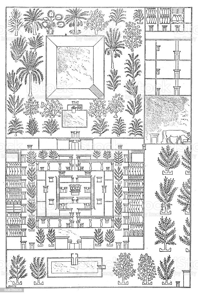 Antique illustration of map of an ancient Egyptian house vector art illustration