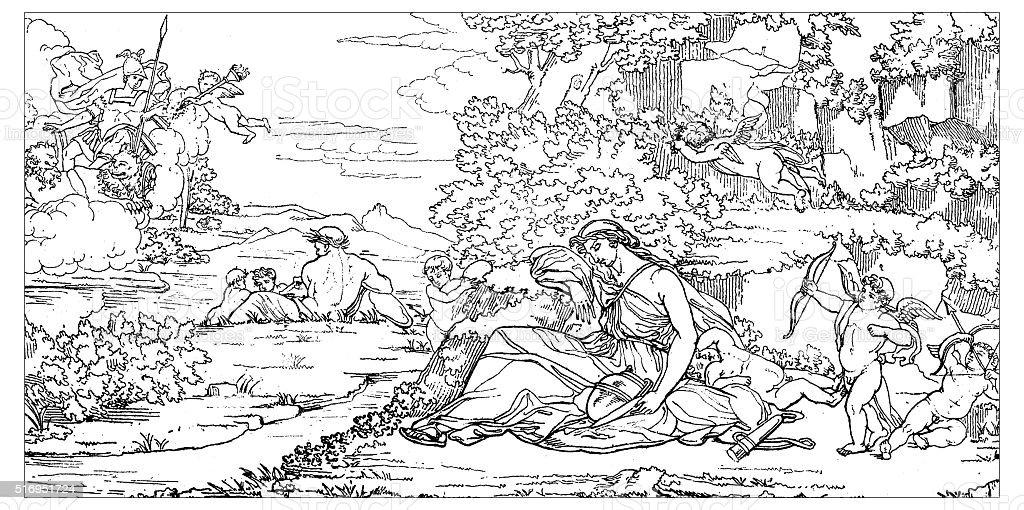 Antique illustration of Mars and Rhea Silvia vector art illustration