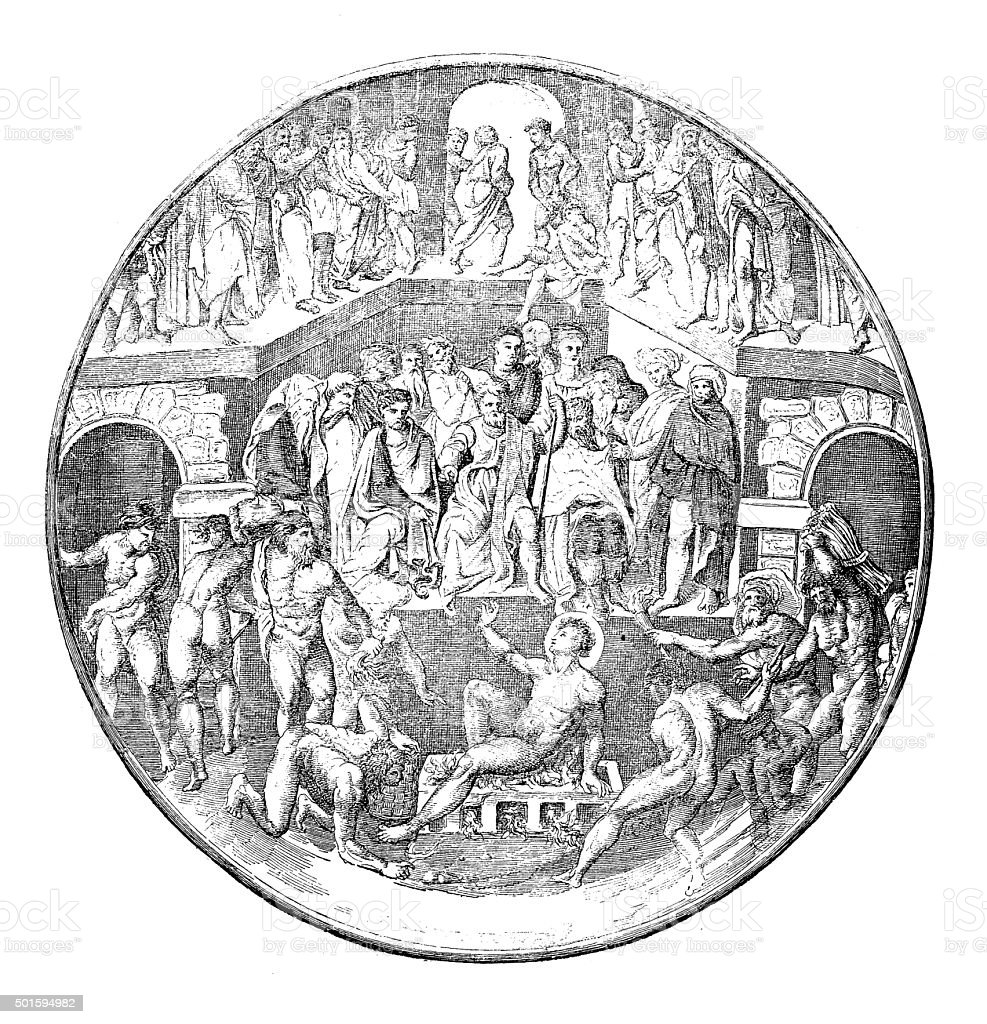 Antique illustration of martyrdom of Saint Lawrence vector art illustration