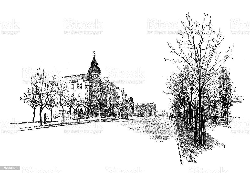 Antique illustration of Massachusetts Avenue, Washington vector art illustration