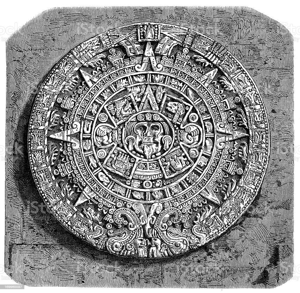 Antique illustration of Maya calendar stone royalty-free stock vector art