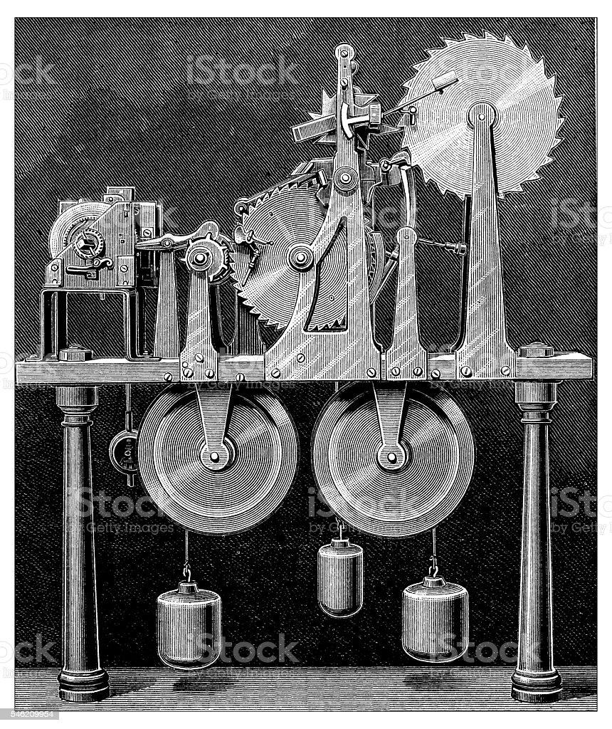 Antique illustration of mechanical calendar vector art illustration