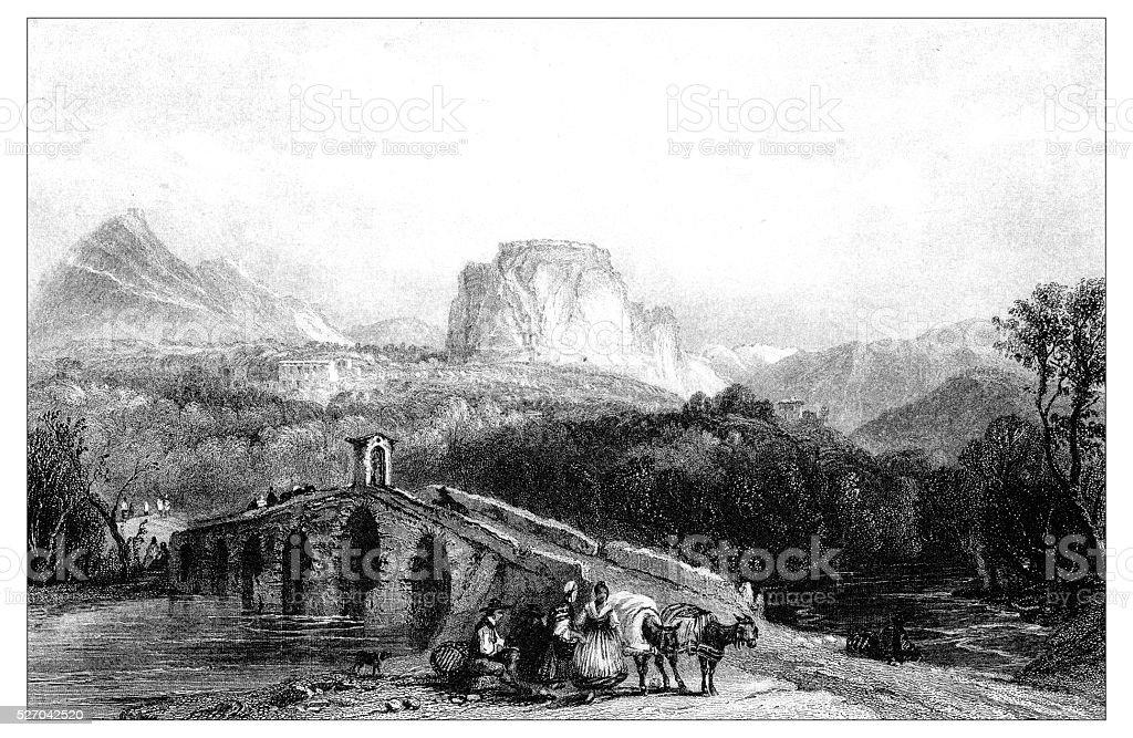 Antique illustration of mediterranean landscapes: Cassano, Calabria vector art illustration