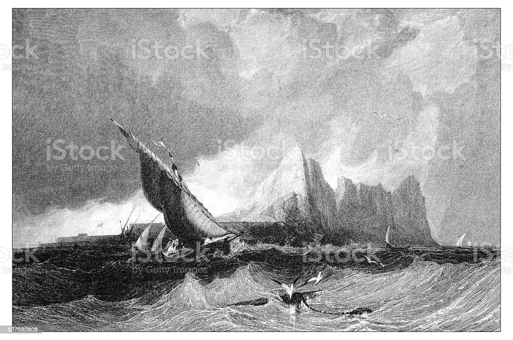 Antique illustration of mediterranean landscapes: Gibraltar from the sea vector art illustration