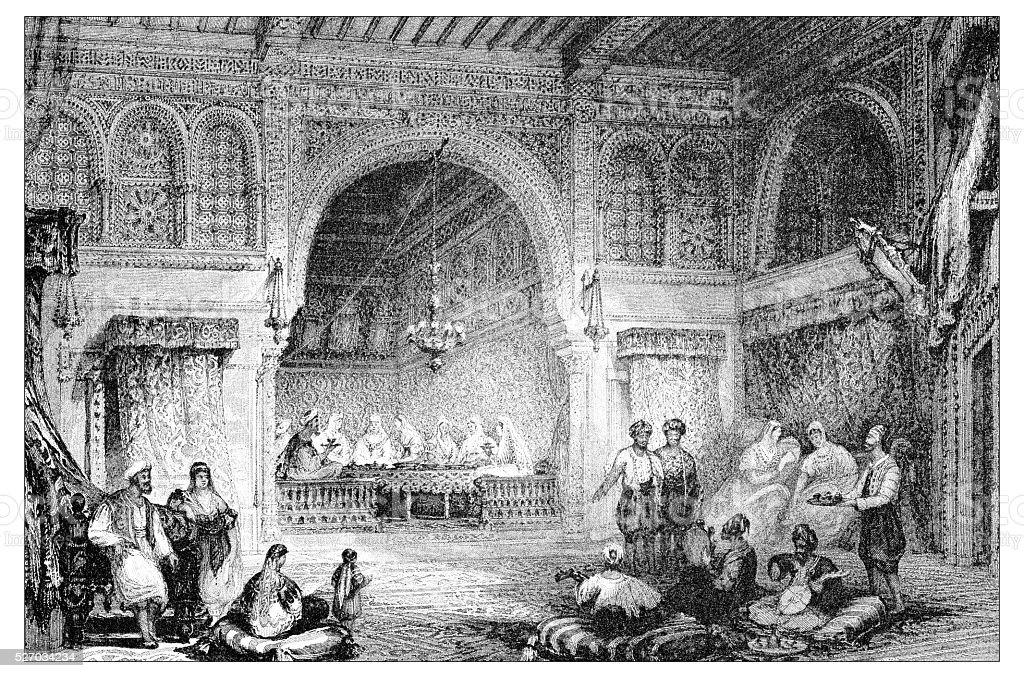 Antique illustration of mediterranean landscapes: Interior of moorish palace, Algiers vector art illustration