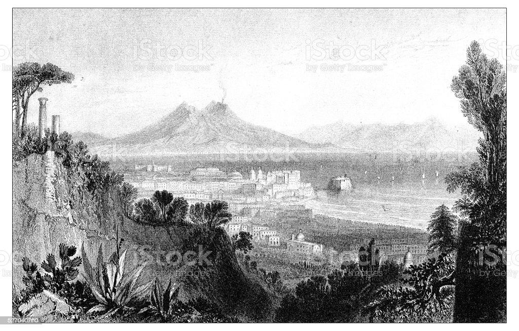 Antique illustration of mediterranean landscapes: Naples vector art illustration
