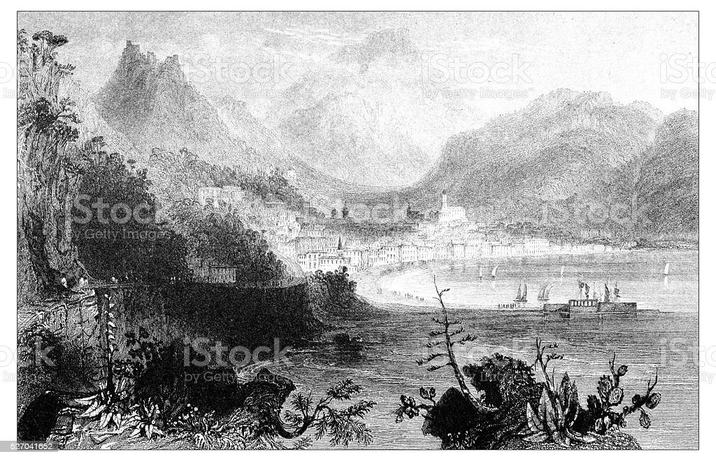 Antique illustration of mediterranean landscapes: Salerno vector art illustration