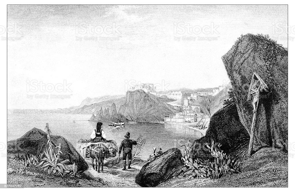 Antique illustration of mediterranean landscapes: Scilla, Calabria vector art illustration